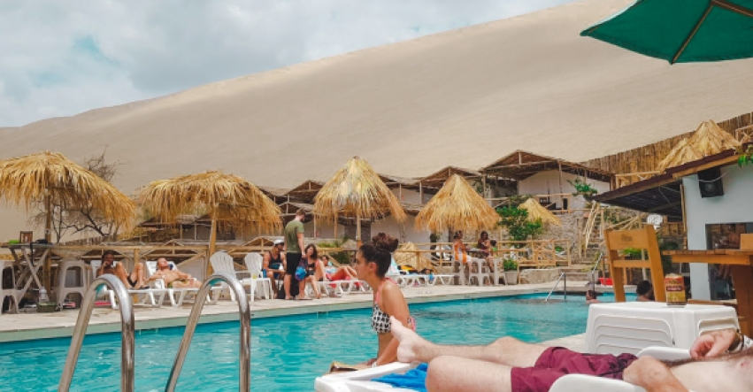 huacachina peru travel guide tips how long stay what to do go eat hostels restaurants how to get to huacachina south america desert oasis dune buggy sand boarding