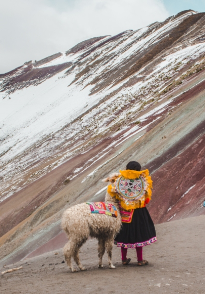 Day trips from Cusco rainbow mountain montana de siete colores peru cusco valley red typical peruvian rural peru south america steep how long far distance hike trail trek walking difficulty steepness muddy horses